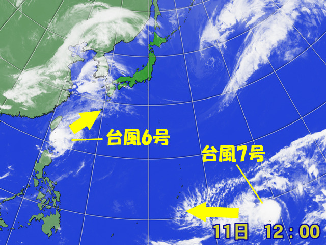 台風6号が北上中。どこまで台風として生き残って北上するか?