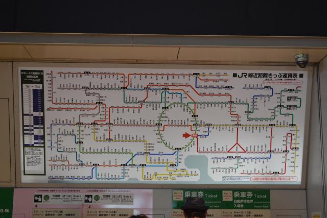 東京駅丸の内南口の運賃路線図は山手線がちょっと楕円