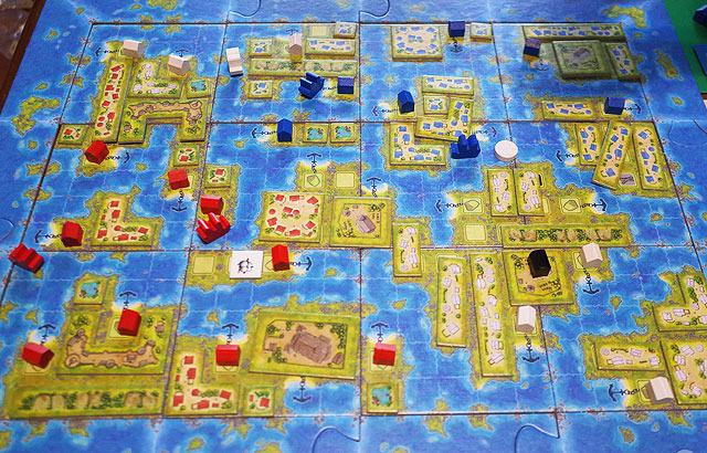 アメリカ大陸を発見したアメリゴ・ヴェスプッチよろしく、未開の島に船で乗り入れ、そこからテトリスみたいなブロックを敷き詰めていくゲーム。(アメリゴもアメリカ大陸も出てこない)