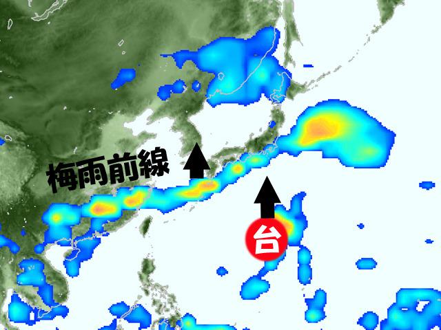 雨雲が長い!!梅雨前線の季節がきた。台風7号が北へ上がれば、梅雨前線も本州付近へ上がるが……。