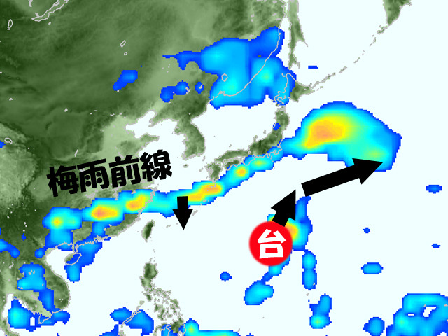 台風7号は東へそれて、梅雨前線の雨雲は北へ上がらず沖縄付近へ。たぶんこうなる。