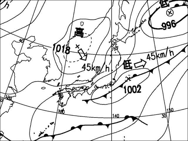 2006年5月2日午後。気象庁天気図