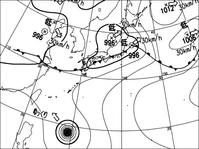 朝。気象庁天気図