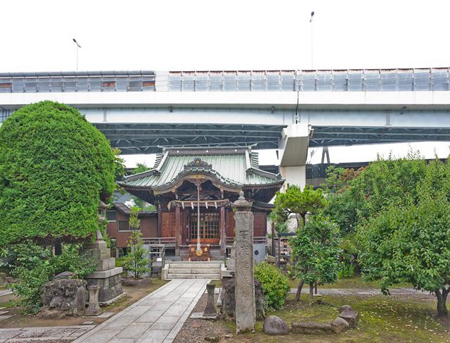 隅田川神社。すぐ後に首都高が聳えていて、もはや高速道路を奉ってるみたいになっててぐっときた。