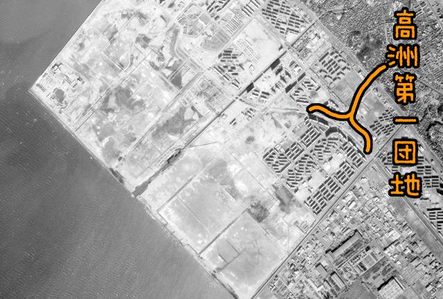 すごい! これは砂飛んできそう! (国土地理院「地図・空中写真閲覧サービス」より・KT736Y・コース番号:C7/写真番号:7/撮影年月日:1973/12/23(昭48)に加筆)