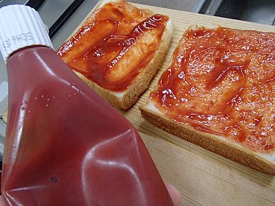 ケチャップとチーズで作るアレです。