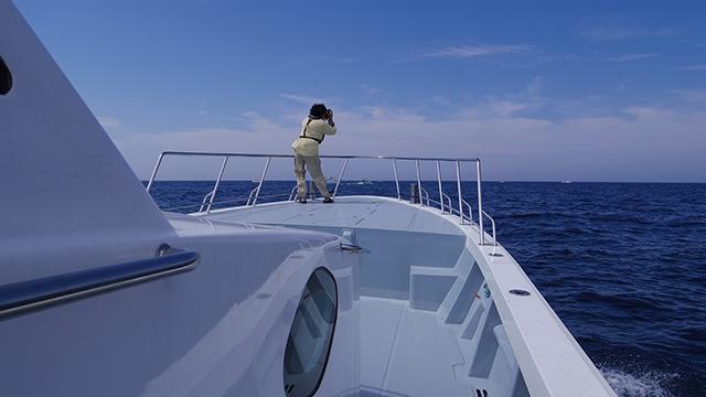 船首から海を撮影する津留崎さん
