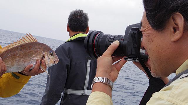 真鯛を撮影する津留崎さん