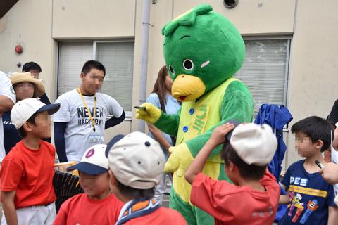 野球少年に囲まれるカッパ。意外に人気者だった