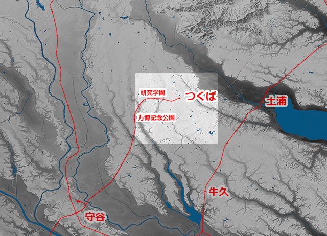地形図を引いて見たところ。明るい四角がひとつ前の地形図の範囲。((国土地理院「基盤地図情報数値標高モデル」5mメッシュをSimpleDEMViewerで表示したものをキャプチャ・加筆加工))