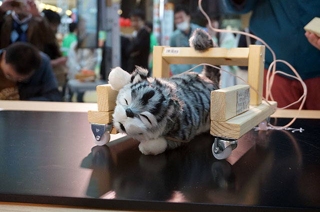 A simple robot consist of a wooden frame with a cat attached.