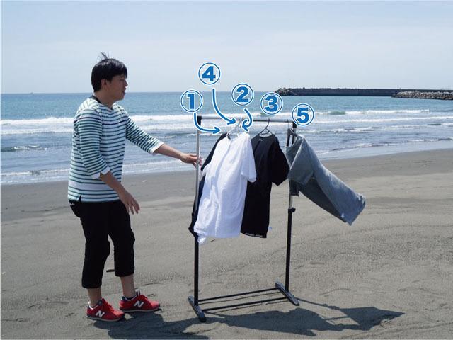 風が強く洗濯物が優雅にゆれる