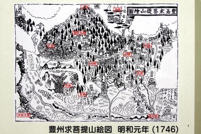 江戸時代の絵図を見ても、山麓から山頂まで建物が連なっていたことが分かる