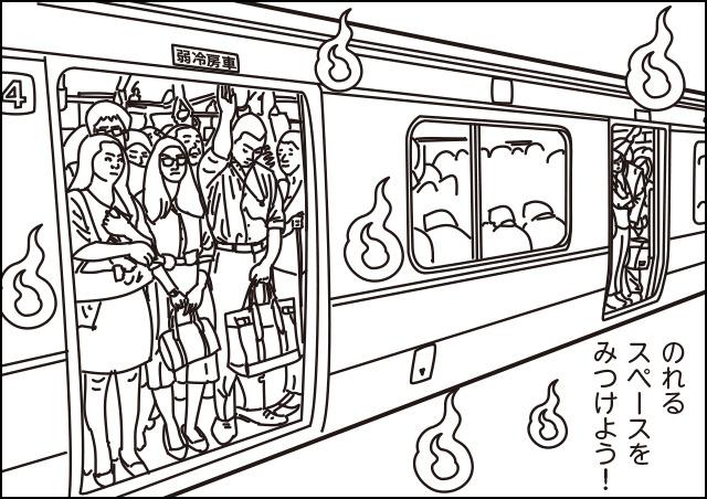 「通勤地獄」という言葉から連想し、つい人魂を浮かせてしまった