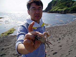 カニと戯れる伊藤さん。スベスベマンジュウガニは見つけられなかったそうです。