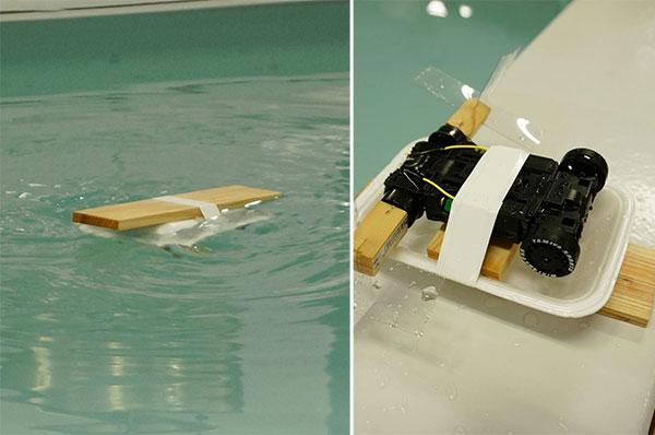僕が作った試作品。ミニ四駆のタイヤに、クリアファイルを切って作った水かきを接着。見事にミニ四駆水没してますが意外に動いた