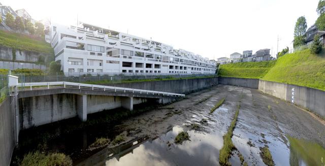三角屋根住宅地から少し北東に行った場所に現れる、コンクリートで囲われた涸れ池のようなもの。