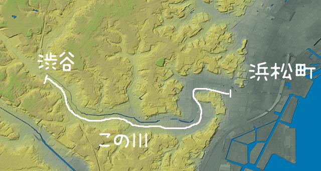 地形図で見ると、いかにもまわりから雨が集まってきて溢れそうな感じだ。(国土地理院「基盤地図情報数値標高モデル」5mメッシュをSimpleDEMViewerで表示したものをキャプチャ・加筆加工)
