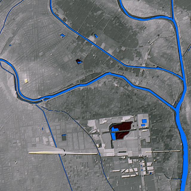 同様に地図と同じ範囲の地形図。レイクタウン周辺の盛り具合がすごい。これはもう「風と