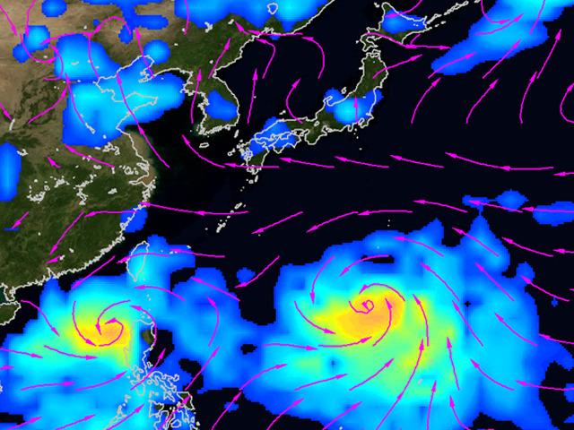 6月30日の時点でスパコンが予測した、7月7日の雨と風の予測。台風9号、10号が予測されている。