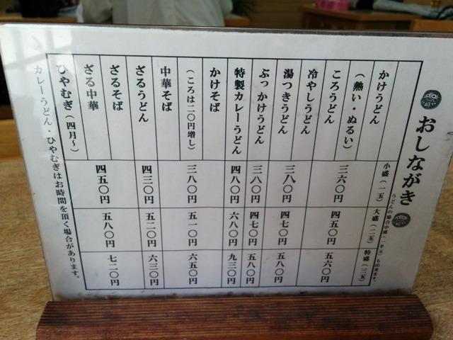 どこのうどんやもメニューが表のようになっている。ここもかけうどんでぬるいのがある。名古屋市民は猫舌なのか。