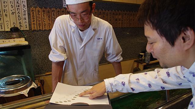 自作のチャートで寿司をオーダーする筆者
