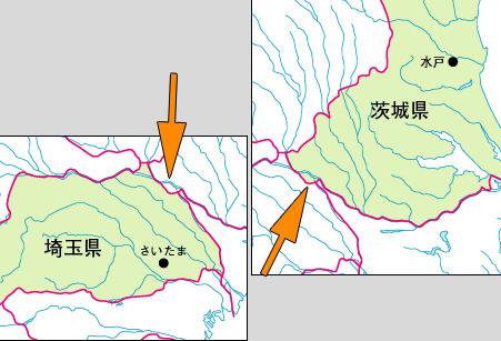 河川入りの地図で見ると、互いに切って貼ったような違和感