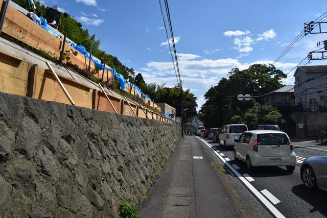 このあたりは、もともと崖上の高さまであった旧東海道を掘削改修した道路なんだそう。街道沿いにはそんな薀蓄が書かれた案内板がたくさんあって勉強になる