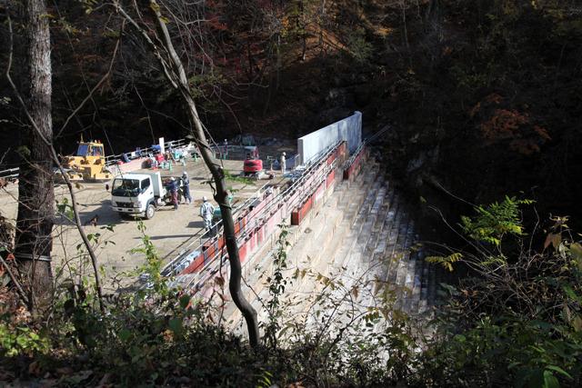 川の水から工事現場を守る堤防