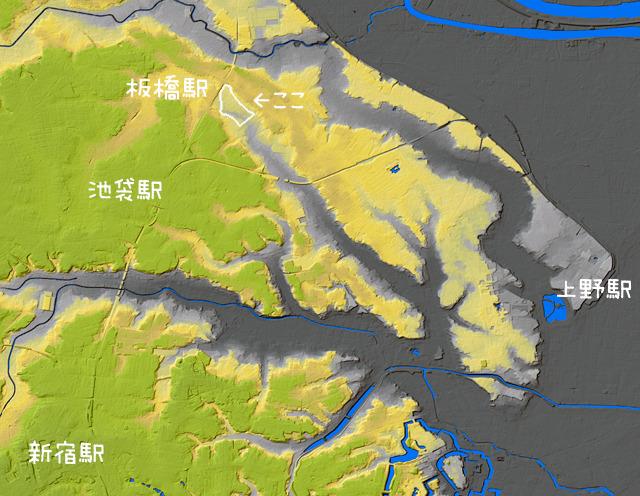 ちなみに崖を作ったのは現在は暗渠になっている谷端川という川。(国土地理院「基盤地図情報数値標高モデル」5mメッシュをSimpleDEMViewerで表示したものをキャプチャ・加筆加工)