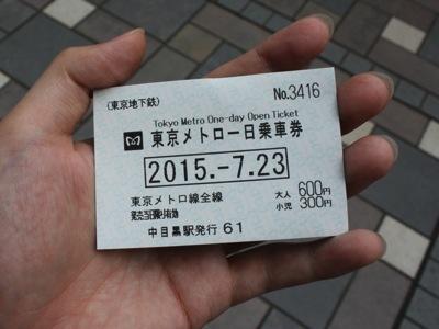 エリアは東京メトロの圏内なので、一日乗車券で移動