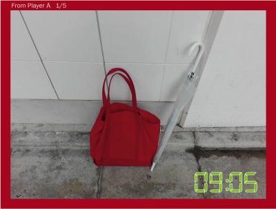 最初の写真が来た。赤いバッグ?