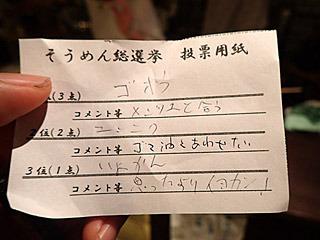 ちなみに私の投票用紙はこちら。やっぱりゴボウが一番でした。