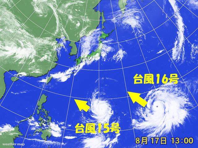 台風15号・16号が同時発生。16号は眼つきが悪い(気がする)。
