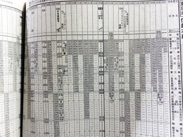 特急が黒い太字のJTB時刻表