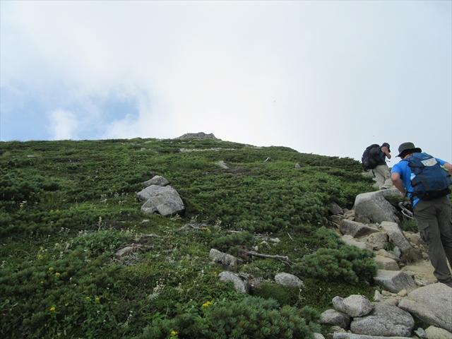 あの石積みのあたりが山頂だ