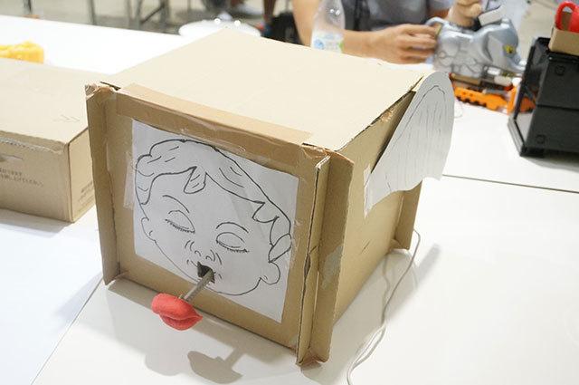 先日のミニヘボコンで登場したロボット。柔らかい唇を伸び縮みさせながらキス顔が迫ってくる(天使なのでキモくない、ということになっています)