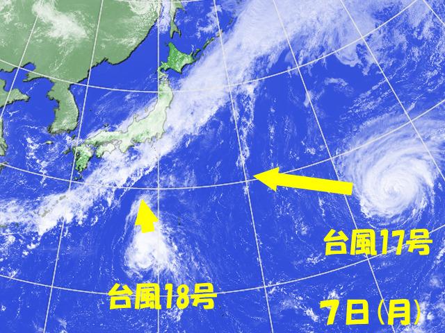日本のすぐ南で台風18号が発生。急に出てきて、急に攻めてくる忍者のような台風。