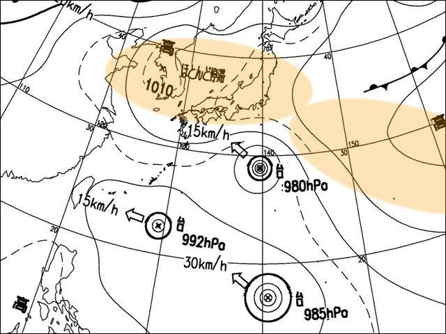 2006年8月7日朝。気象庁天気図