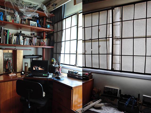 部屋その2、色々すごいんだけど、とりあえず窓の障子は自作だ。