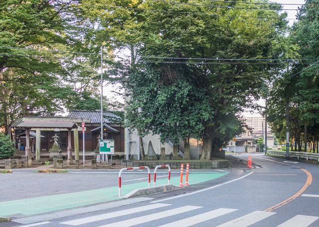 (円周道路に沿って、北から南を見たところ)左(東)に神社があって、そのせいで道路が蛇行しちゃってるのがわかる。