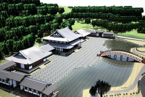 かつては京都の平等院鳳凰堂のような寺院があったそうだ