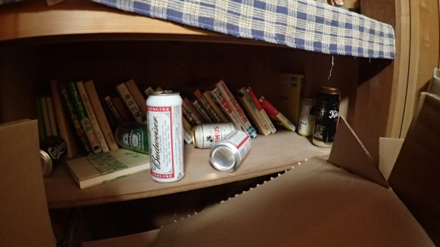 枕元になぜか外国のビールの空き缶が散乱
