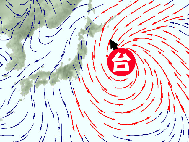 木曜(8日)の風の予測。台風23号が北上。赤矢印は強い風のエリア。