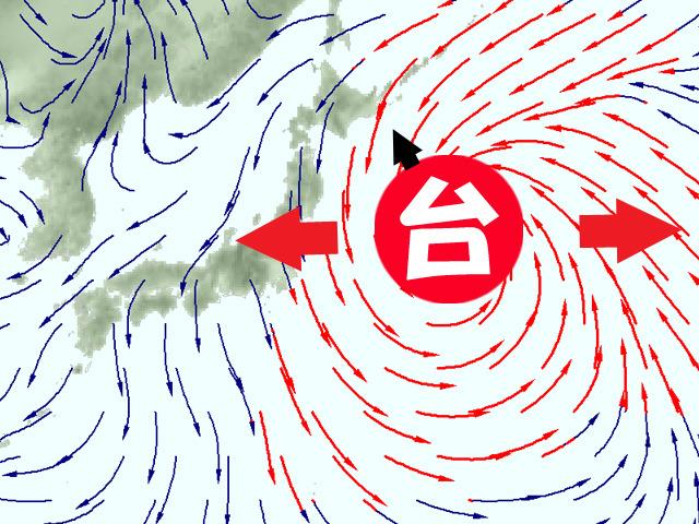 台風23号が成長すると、強い風のエリアが広がって、関東周辺でも危険な強風に。