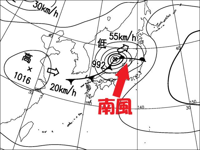 2013年10月9日朝。気象庁天気図