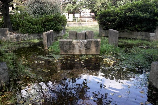 振り返ると、そこには水に沈んだ遺跡のような光景が