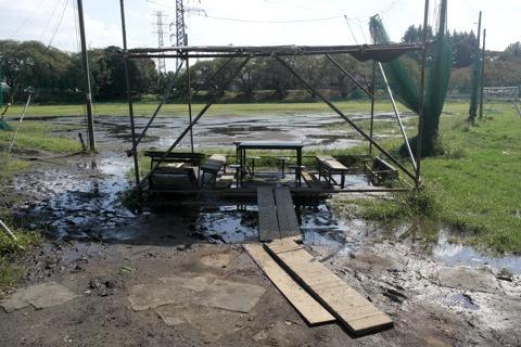 その奥には、また安定の水びたし野球場が控える