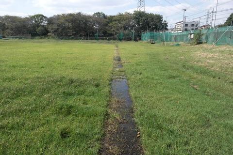 レフトの守備位置からバッター方向。三塁線が水路となっており、とても見やすい。