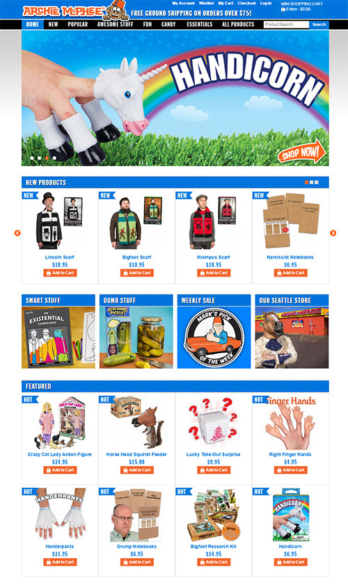 Its official site with nothing but funny goods, which are all original.